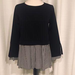 NWT Zara Basic Black White blouse oversized S